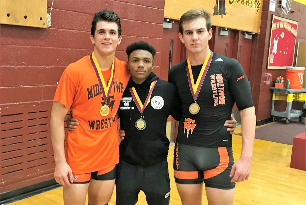 25927efce6 Middle Township wrestlers (from left) Gary Nagle